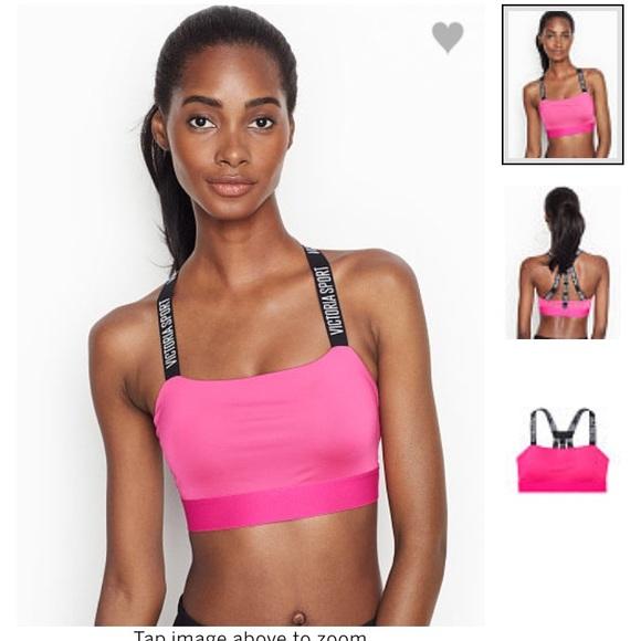 Victorias Secret Pink Logo Racerback Bra Top Small Fuchsia